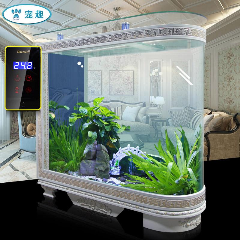 欧式子弹头屏风玄关鱼缸客厅家用现代简约玻璃1.2米中大型水族箱