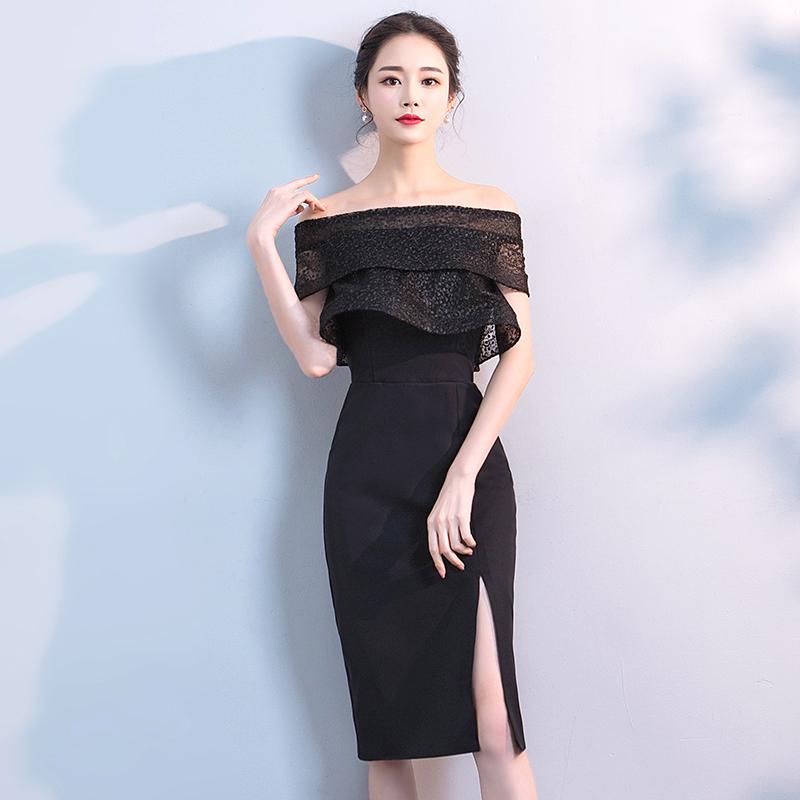 小晚礼服裙女短款显瘦2018新款端庄大气宴会高贵名媛晚宴黑色洋装