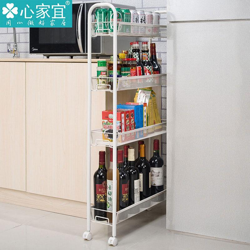 带轮可移动小推车夹缝置物架冰箱窄缝收纳架浴室缝隙储物架落地