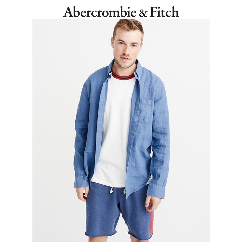 季末特惠Abercrombie&Fitch男装 成衣印染亚麻衬衫 198688-3 AF