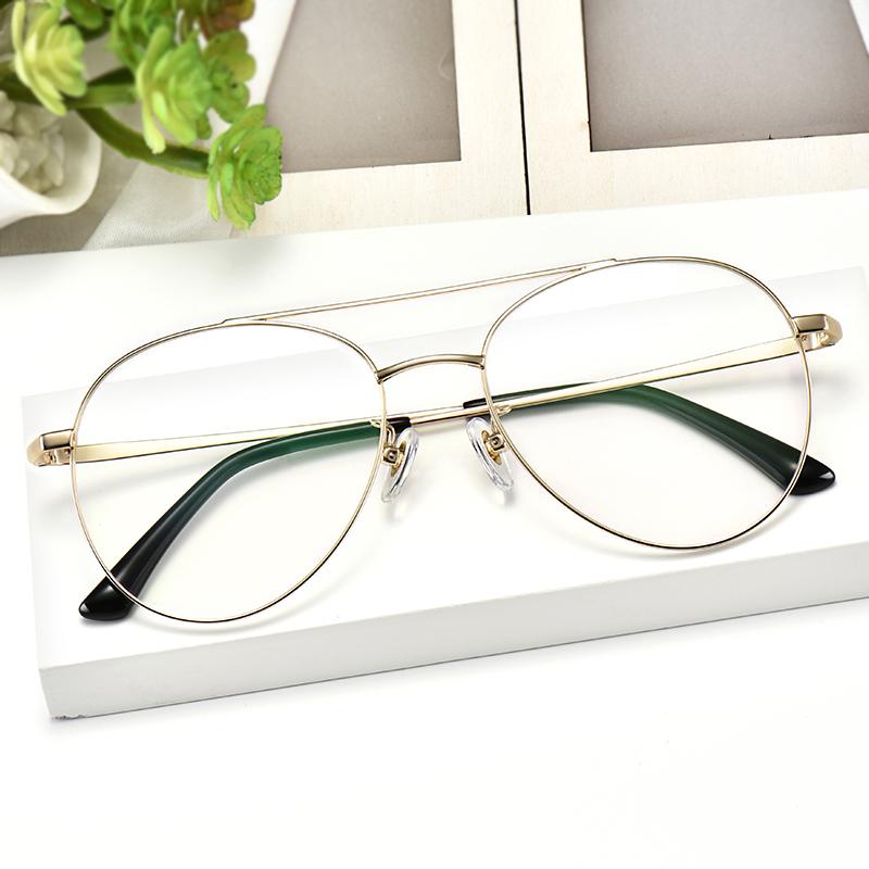 复古纯钛眼镜框女飞行员眼镜男近视可配韩版双梁眼睛框镜架有度数