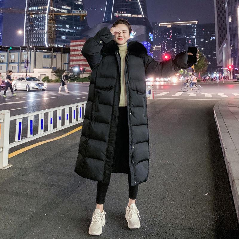 过膝长款棉衣外套女冬装新款韩版宽松中长款加厚棉袄冬季羽绒棉服