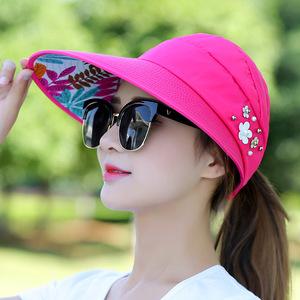 太阳帽女成人出游骑车户外时尚休闲空顶帽大帽檐遮脸大头围遮阳帽