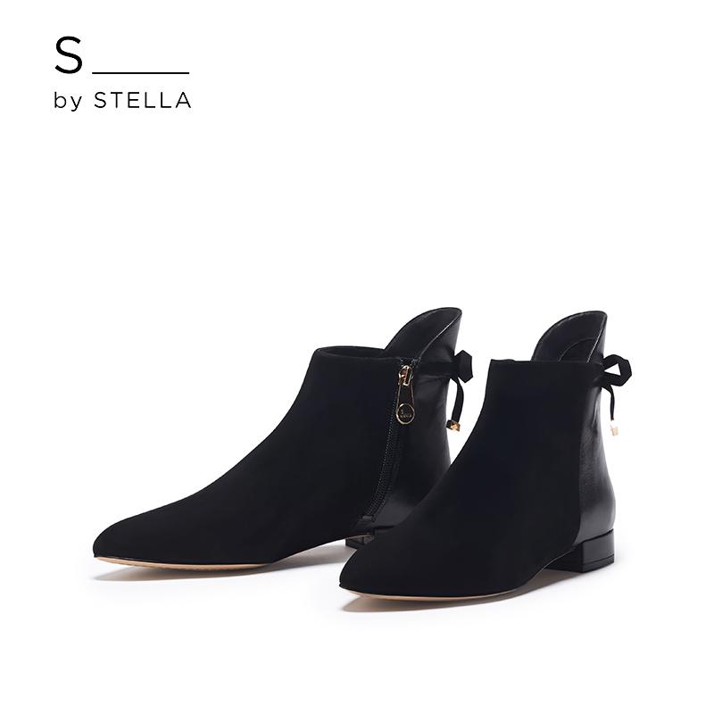 小S女鞋S by STELLA秋冬新品黑色百搭平跟短靴时尚女鞋