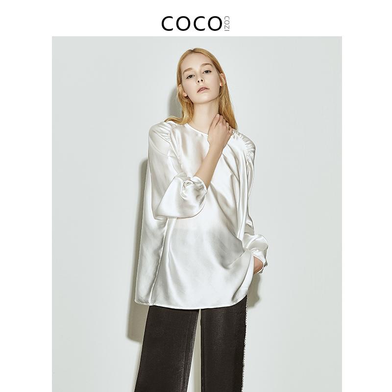 COCOCOZI纤罗【真丝】灯笼袖套头真丝衬衫女重磅桑蚕丝衬衣女