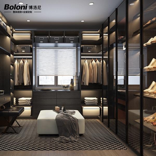博洛尼定制整体衣柜卧室现代铝框玻璃推拉门大衣橱衣帽间伯尔尼亚