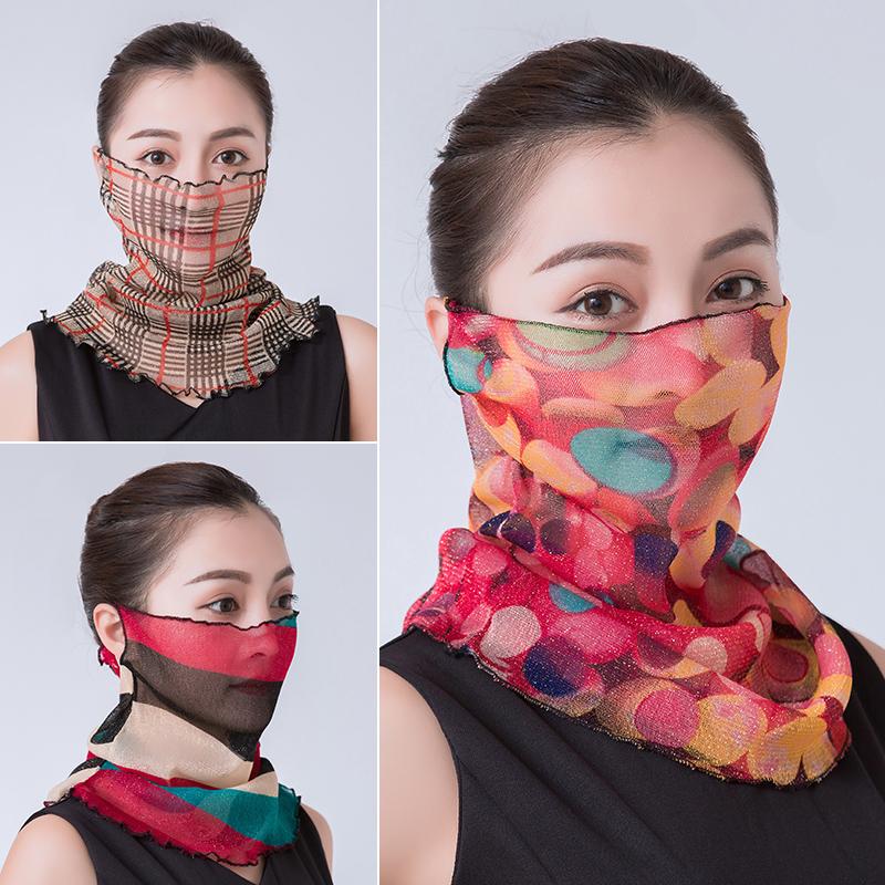围脖女夏季薄款防晒面纱挂耳小丝巾护颈围巾脖套口罩遮脸面罩劲巾