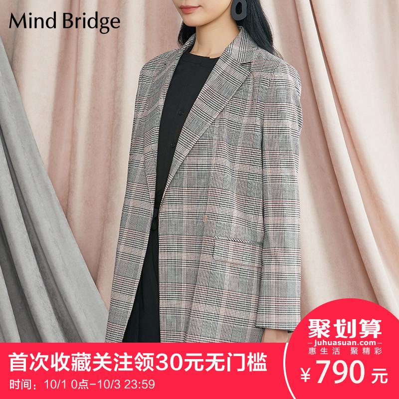 Mind Bridge百家好2018秋季新品女士西装外套时尚夹克MSJK628A