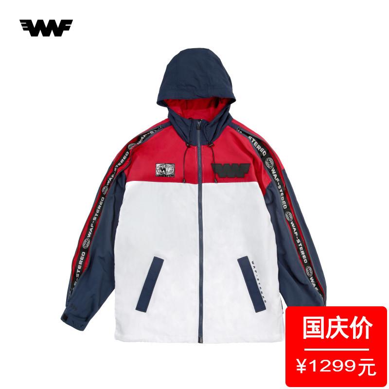 WAF-FGXX男夏复古拼色LOGO标签串标织带连帽薄款风衣外套70169XA