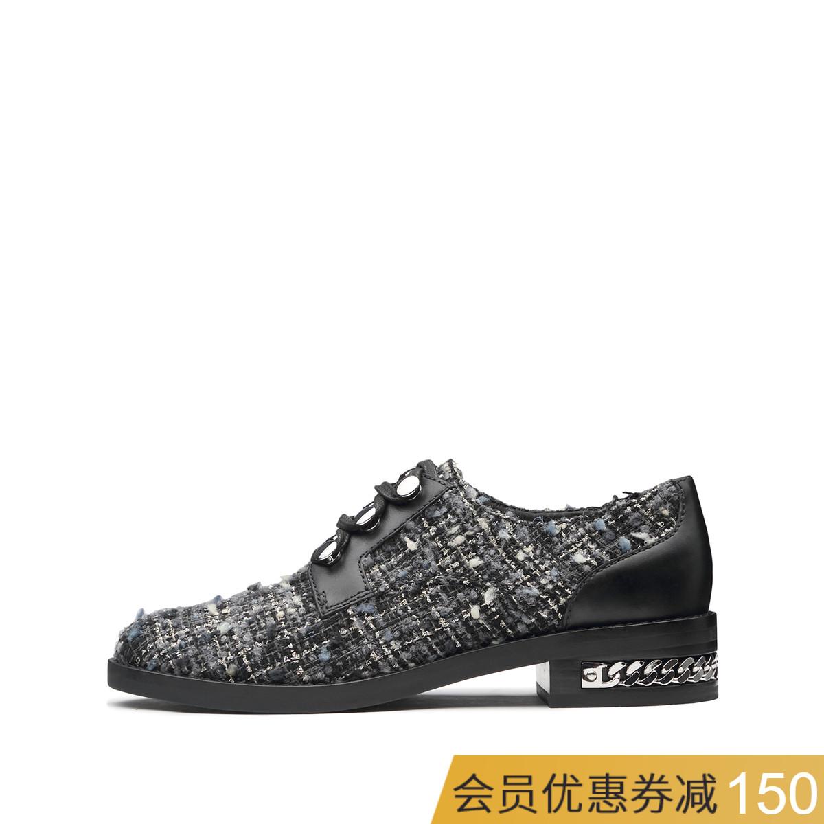 WHAT FOR2018秋冬新款深口圆头时尚中性系带低跟粗跟休闲女皮鞋