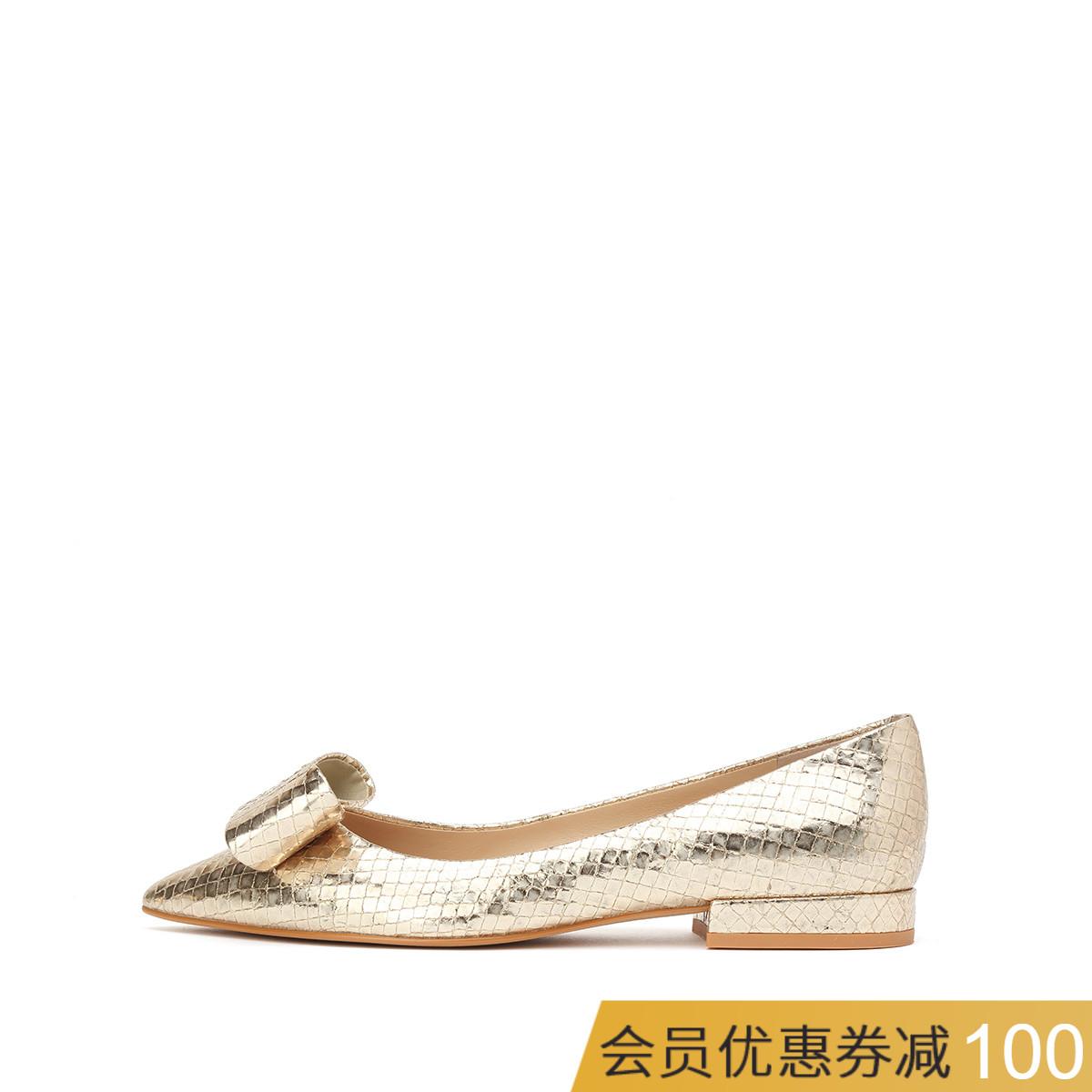 WHAT FOR2018夏羊皮平底尖头新款蝴蝶结低跟银色鳄鱼纹女浅口单鞋