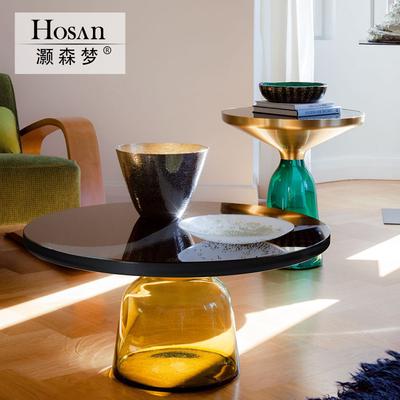灏森梦 北欧设计师玻璃小茶几迷你小圆桌沙发边角几铃铛简约边几