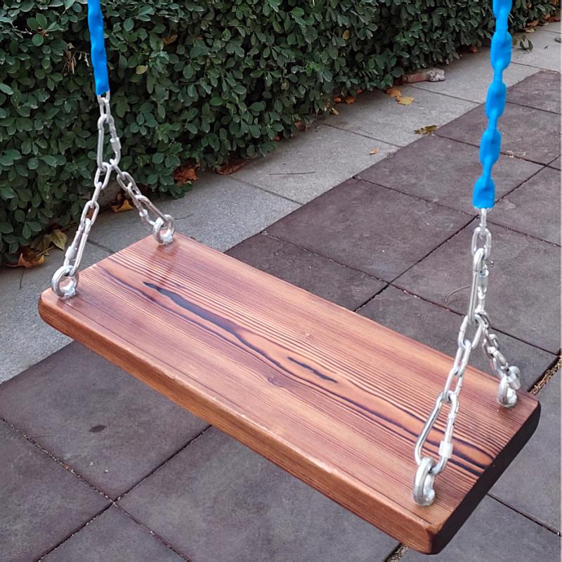 铁链实木坐板秋千户外家用木板庭院儿童秋千板成人双人荡秋千