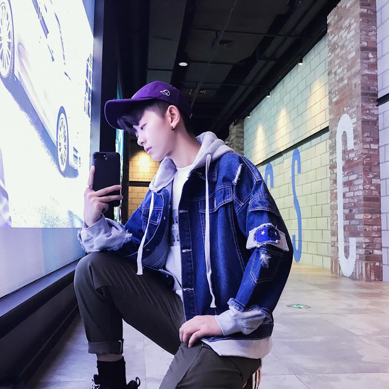 牛仔外套男春秋季韩版破洞棒球衣服休闲潮流宽松修身学生帅气夹克