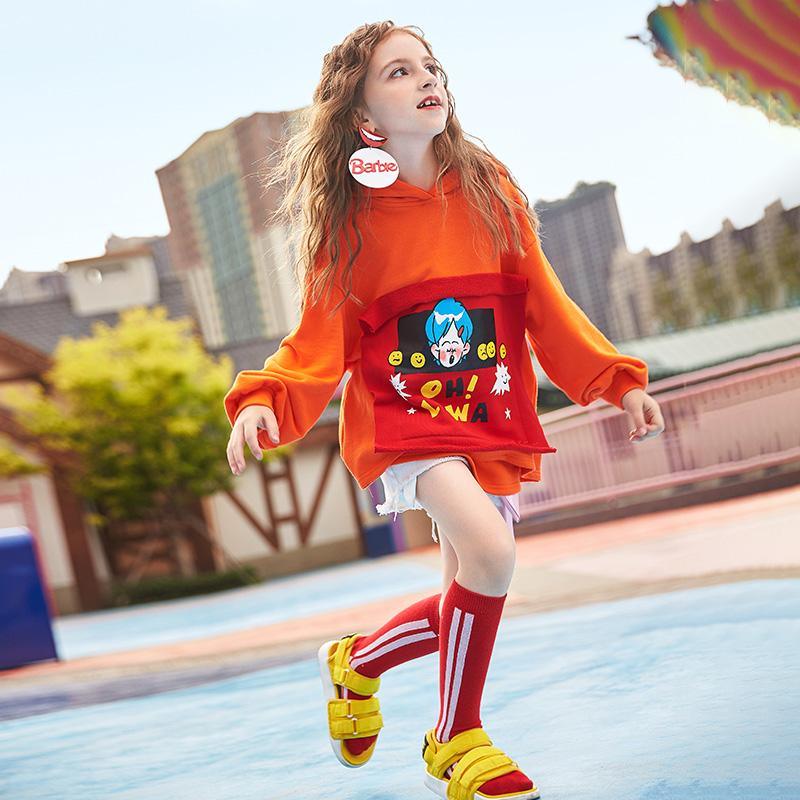 玛玛绨童装2018新款秋装女童卫衣韩版连帽中大童贴布绣洋气上衣潮