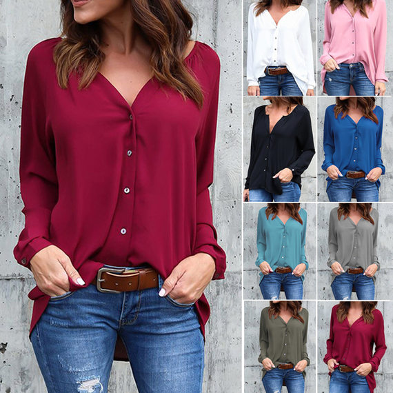 V neck Big size Women blouse Causal shirts Ladies tops 티셔츠