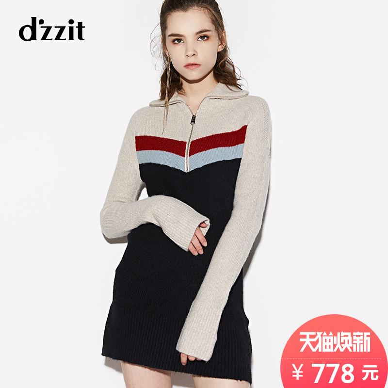dzzit地素 新款撞色拉链高领插肩袖毛衣连衣裙3A4E6022A