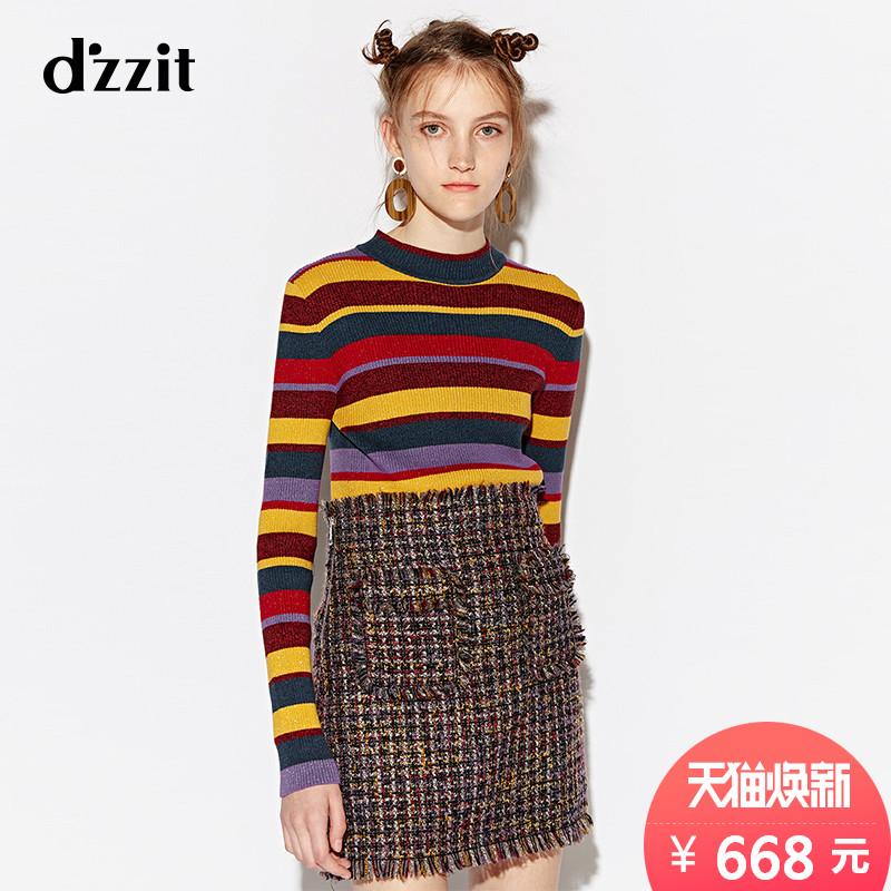 d'zzit地素 18冬季新款 复古彩色条纹葱丝针织毛衣女 3F4E4802H