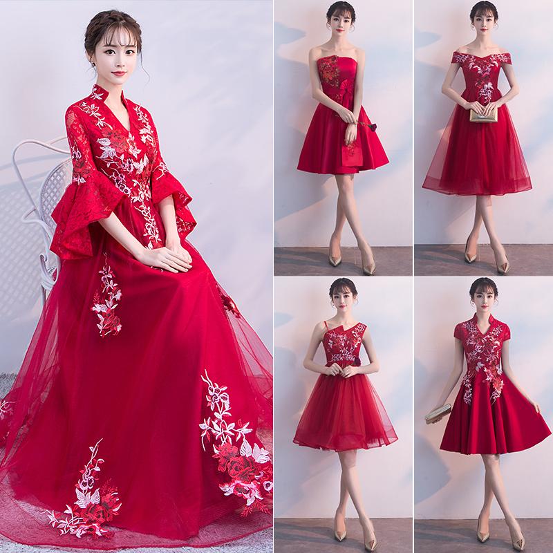 中式敬酒服新娘秋季2018结婚新款长款大码订婚中国风婚礼晚礼服裙