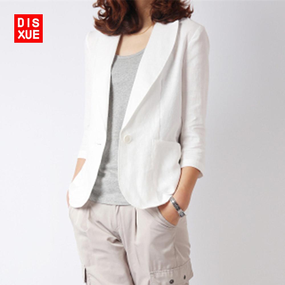 亚麻小西装女早秋新款韩版修身短款七分袖西服棉麻西装小外套