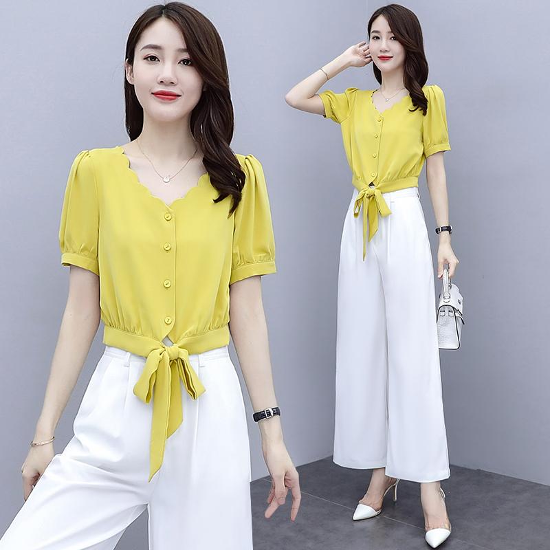 2020夏季女短袖雪纺衬衫2020新款搭配阔腿裤裙子的高腰短装套装
