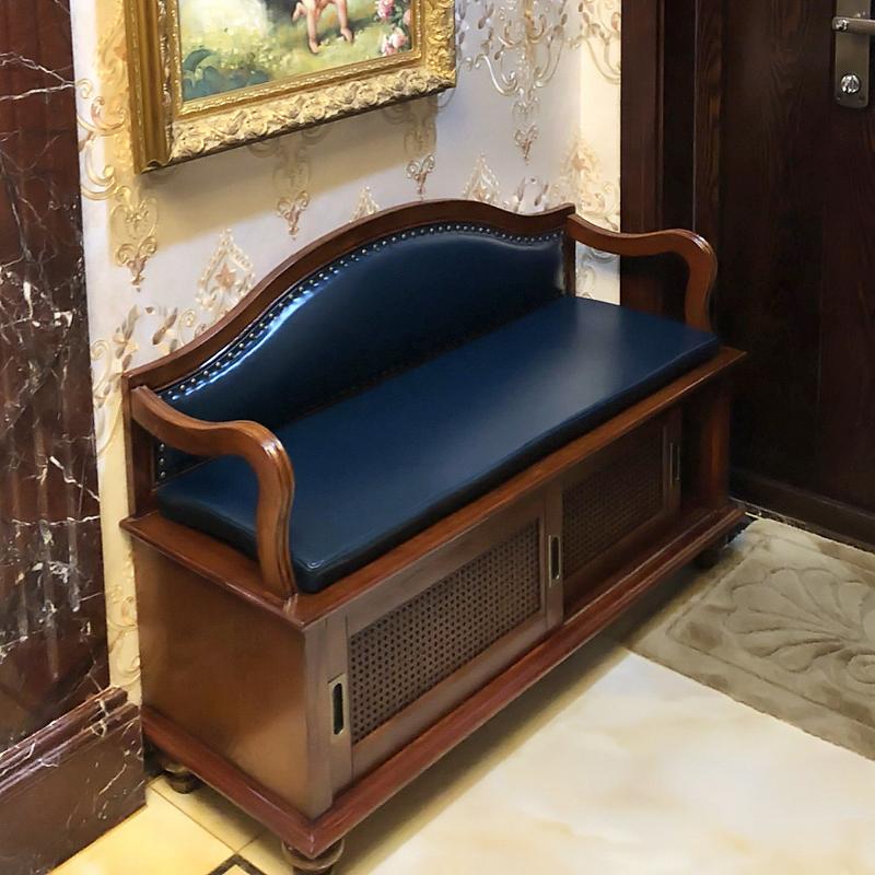 美式实木真皮进门换鞋凳式鞋柜收纳凳储物凳欧式门口穿鞋凳可坐