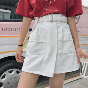 5307#实拍白色高腰牛仔短裙女a字夏季2019新款韩版高腰...