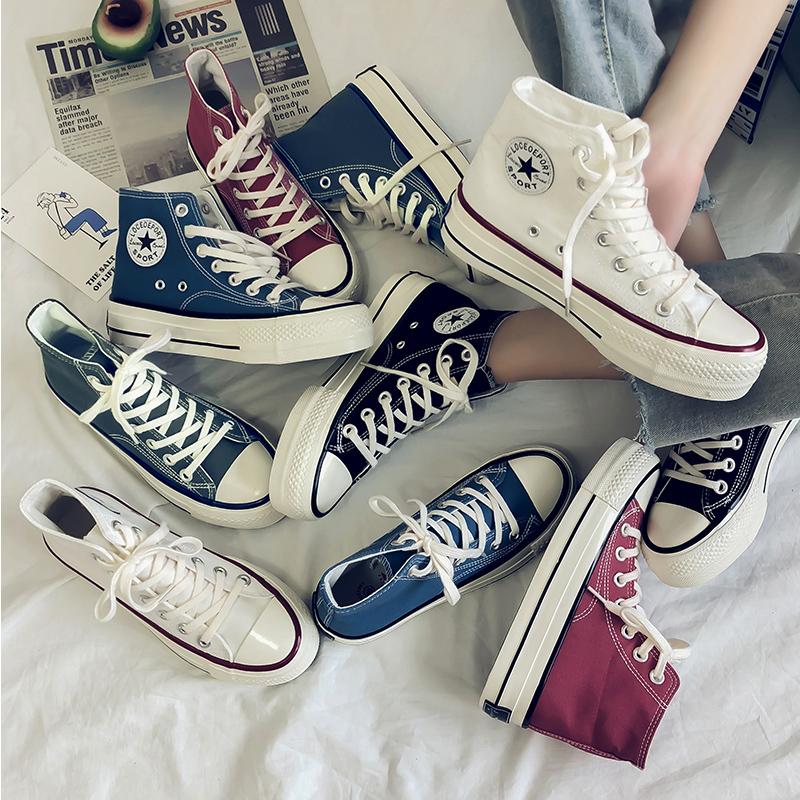 硫化鞋女鞋1970s爆款ulzzang高帮帆布鞋2019新款韩版百搭滑板鞋潮