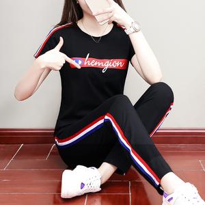 纯棉休闲运动套装女夏2019新款韩版学生宽松大码九分裤显瘦两件套