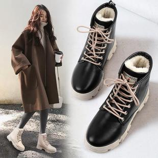 【鞋包】女鞋2018新款秋冬英伦风女靴系带马丁靴子圆头平底靴子保暖百搭鞋
