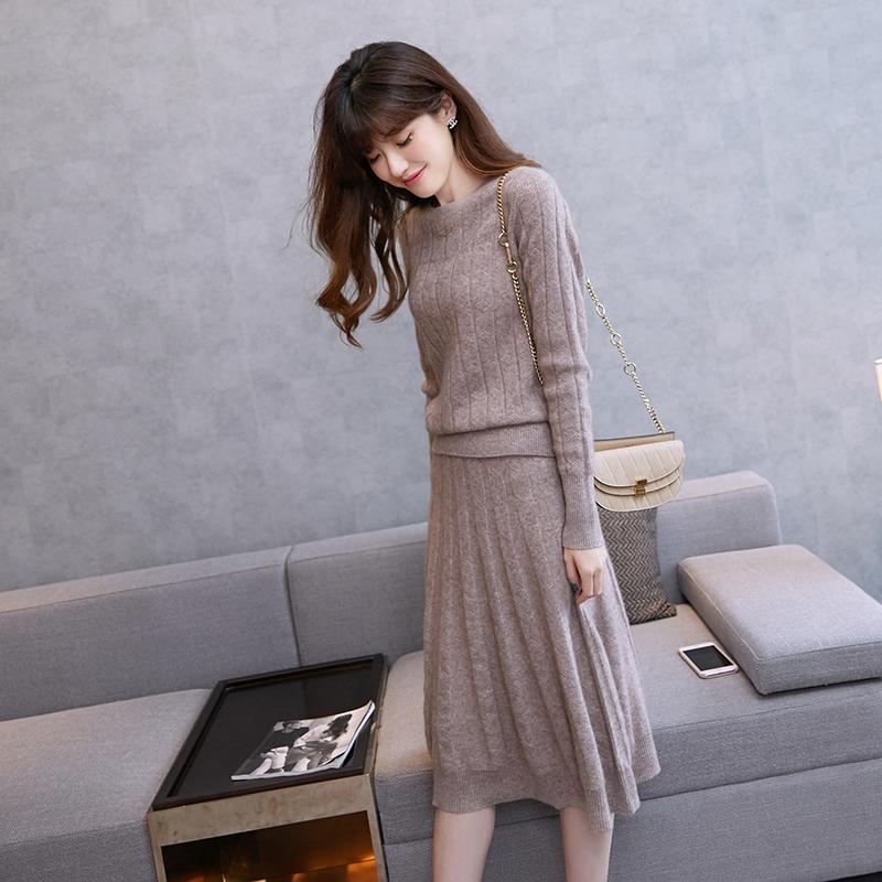 秋冬羊绒衫圆领套头毛衣半身伞裙套装女韩版长袖针织毛衣裙两件套