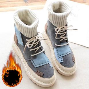 帅气马丁靴女2019秋冬新款时尚中跟方跟英伦风复古港味学生短靴潮
