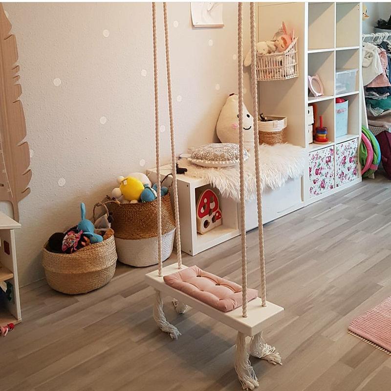 INS风室内秋千吊椅儿童房间装饰实木板棉绳玩具家用吊顶悬挂秋千