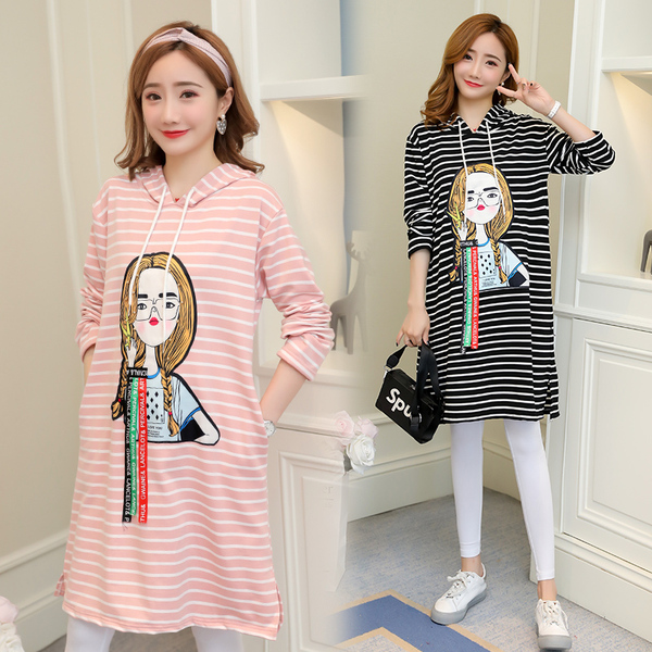 Real Shot 2018 Autumn Maternity Dress Striped Loose Long-Sleeved Printed Pattern Sweater Hooded Maternity Dress