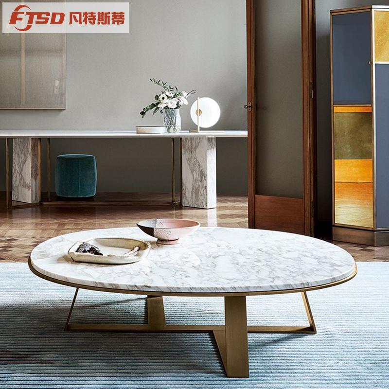 北欧风茶几设计师轻奢镀金创意现代简约客厅不锈钢大理石圆形茶几