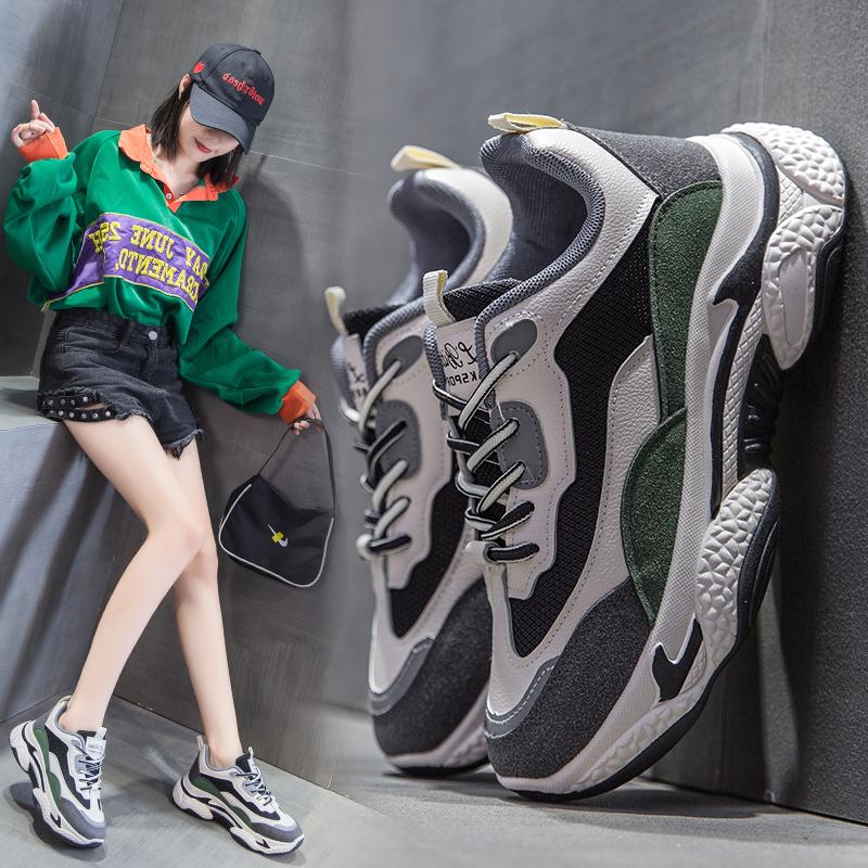 ins老爹鞋女2020春季新款学生运动鞋女百搭街拍女鞋韩版增高女鞋