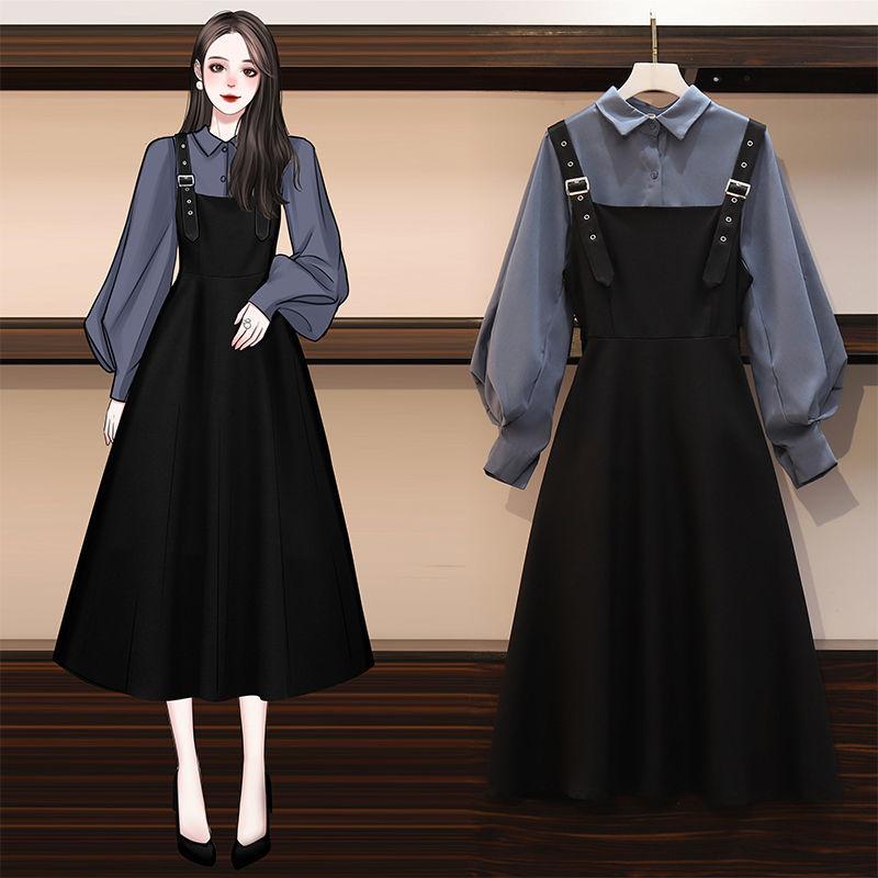 单/大码女装2020秋季新款胖妹妹时尚衬衫遮肚显瘦连衣裙女两件套