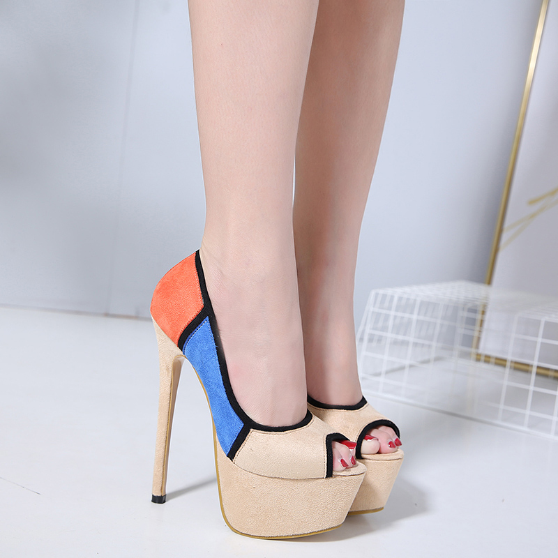 category/Shoes/2018 spring new pointed fine with suede spell color elegant ...