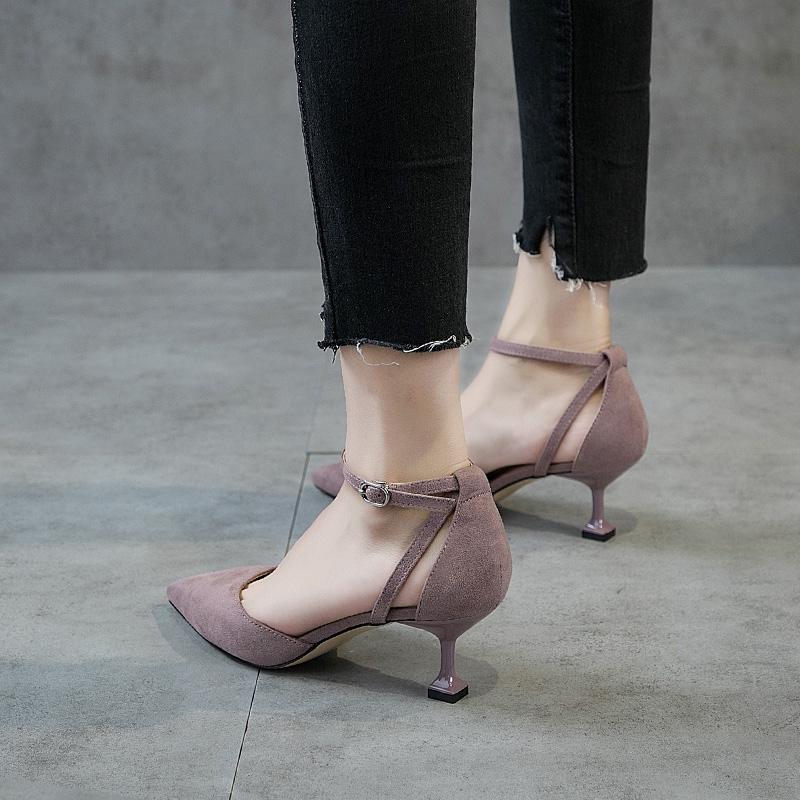 浅口尖头单鞋女2018新款高跟鞋少女一字扣猫跟鞋细跟百搭5cm中跟