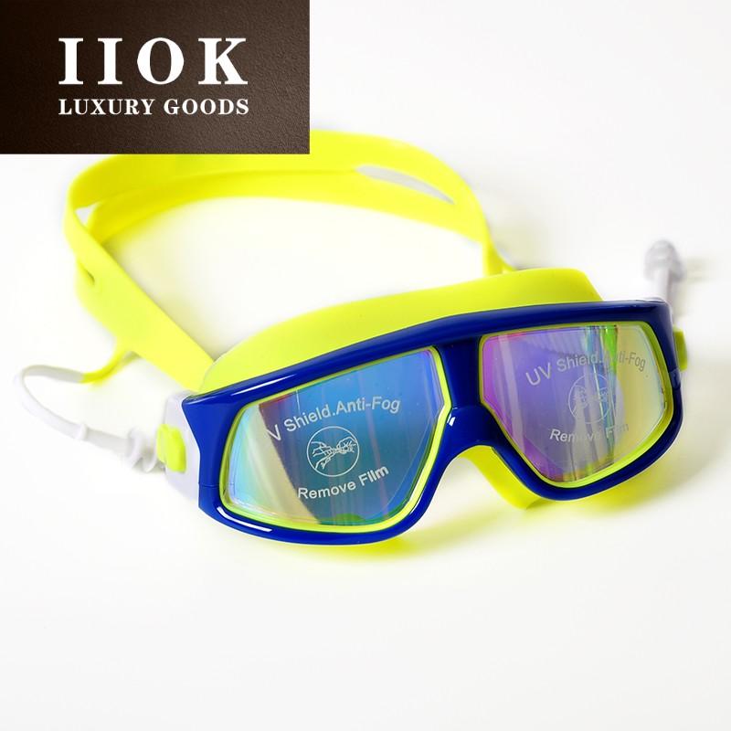 IIOK大框泳镜女防雾泳镜带耳塞一体成人女高清大框游泳眼镜WL104