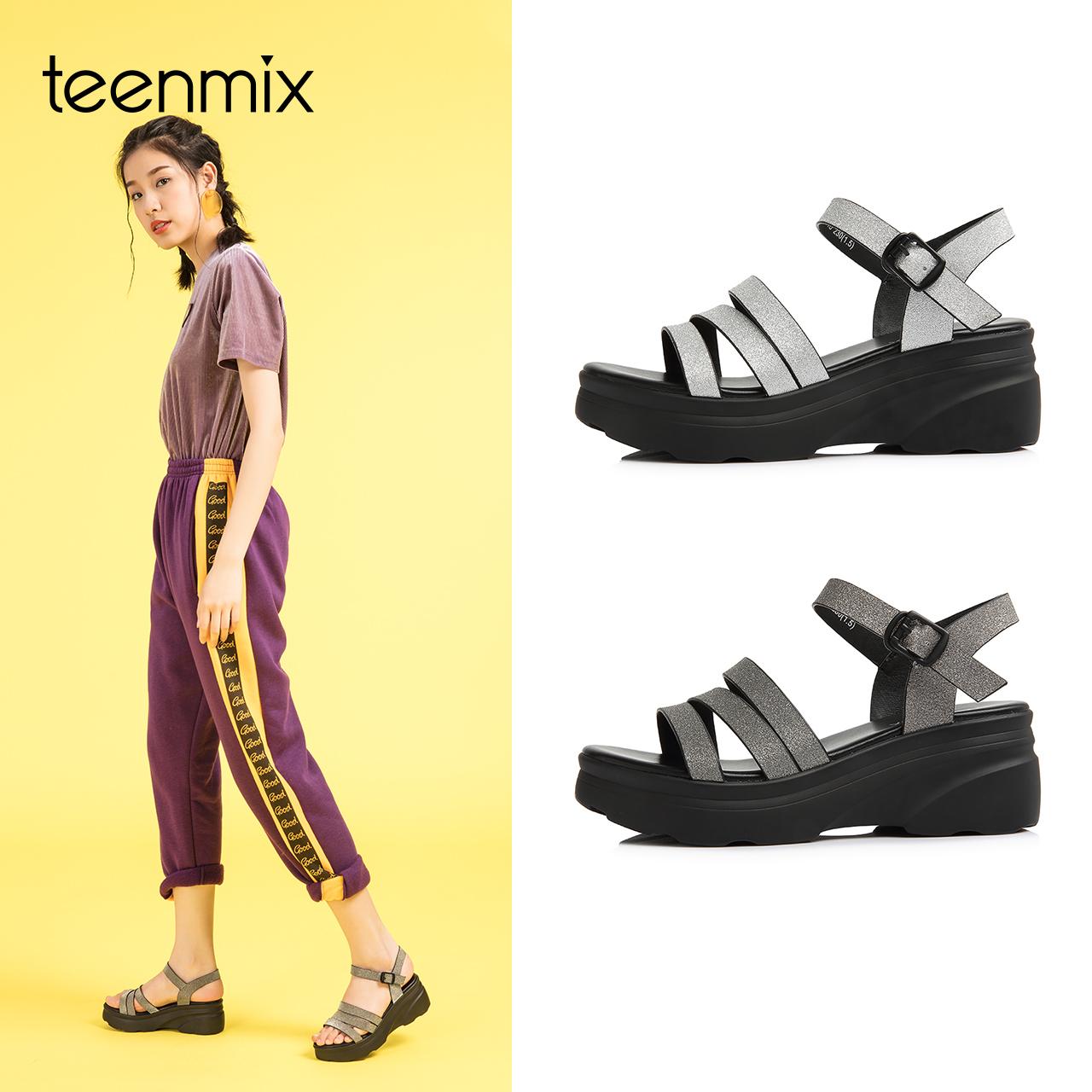 Teenmix-天美意2018夏商场同款多条带厚底坡跟女凉鞋AR291BL8