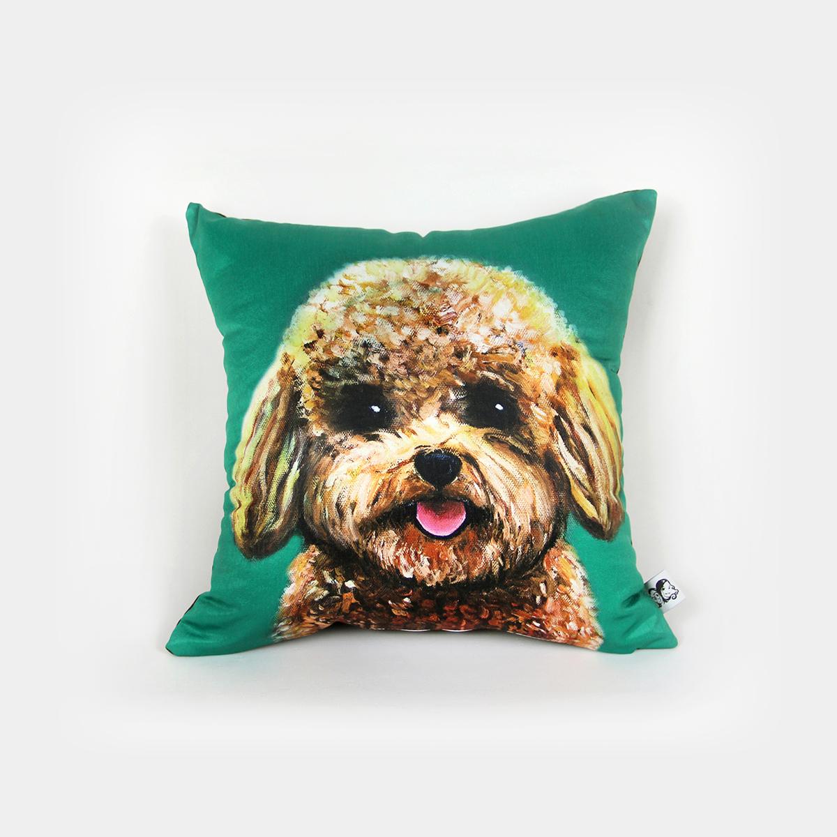 小美和大美 创意手绘印花可爱汪星人泰迪犬狗狗办公室靠垫抱枕套_7折