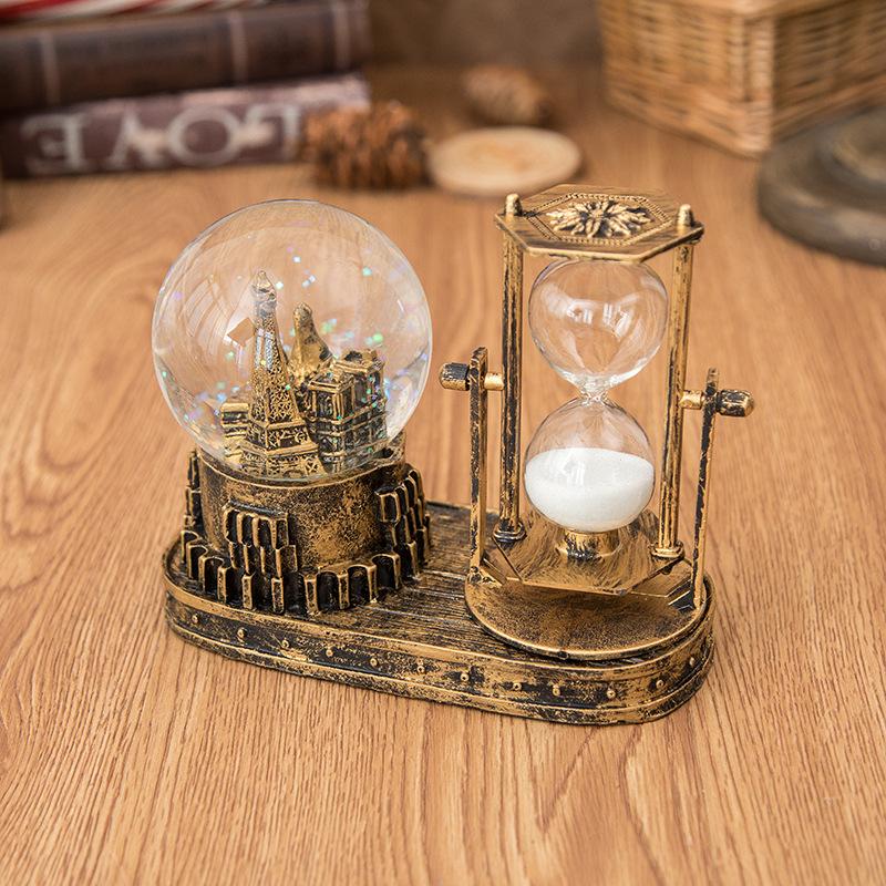 创意铁塔沙漏音乐闪灯水晶球学生生日礼物家居桌面装饰摆件附电池