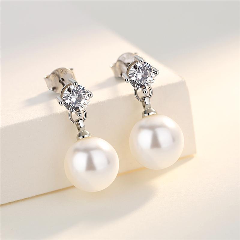 S925银锆石仿珍珠耳钉短款小耳坠