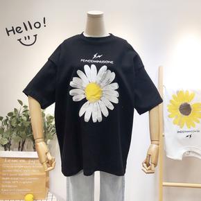 纯棉短袖t恤女2020夏装新款韩版学生宽松半袖上衣女ins潮网红超火