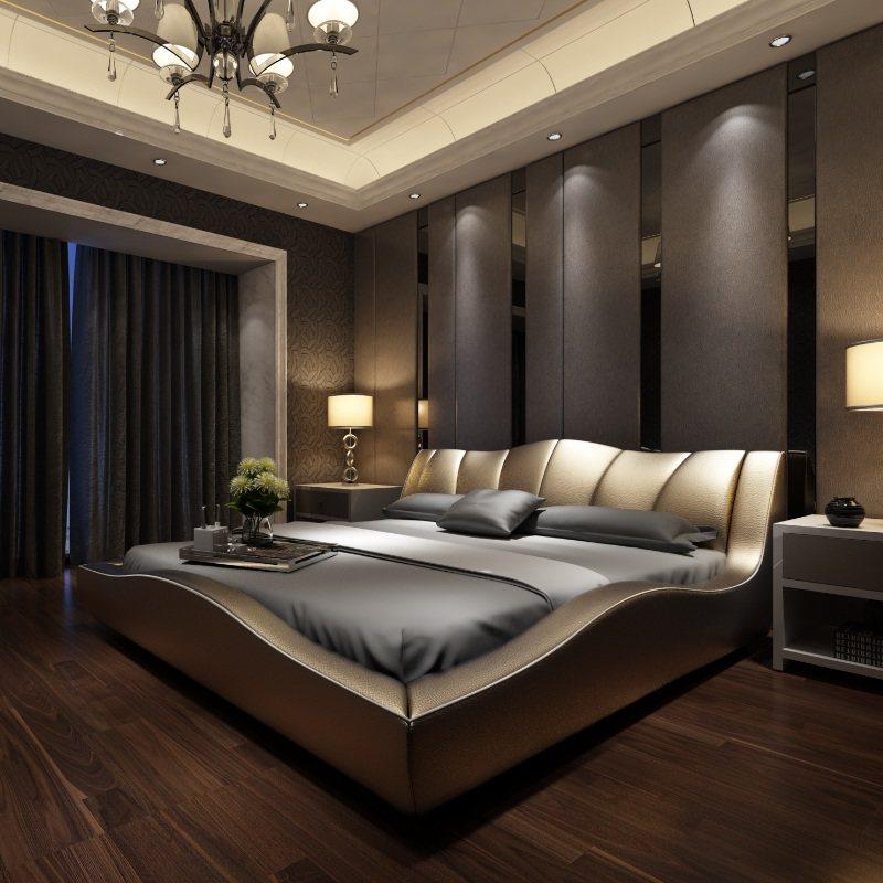 简欧欧式床现代简约大床双人床2米2.2米1.8主卧室真皮床榻榻米床