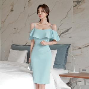 台湾高档裙子 马来西亚高档女装 专柜女装批发3286#2020新款韩版修身高腰收腰荷叶吊带露肩包臀礼服裙