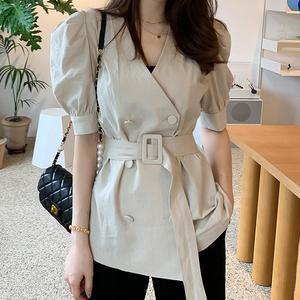 3693#2020韩版夏季新款显瘦通勤亚麻双排扣腰带上衣外套