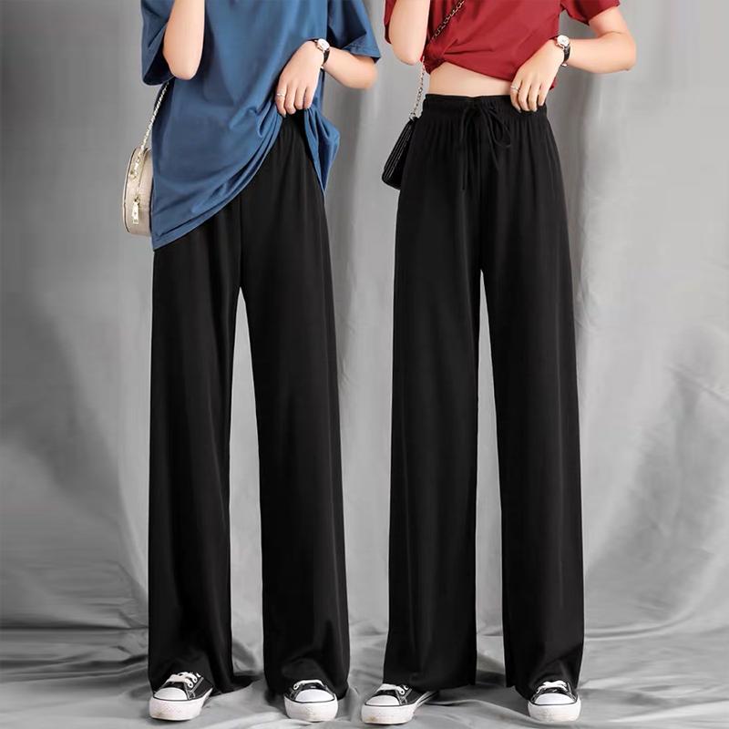 冰丝阔腿裤女夏季高腰垂感黑色显瘦百搭2021新款小个子九分直筒裤