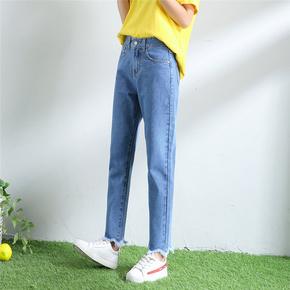 韩版学院风高腰chic宽松9分牛仔裤少女学生bf百搭毛边直筒哈伦裤